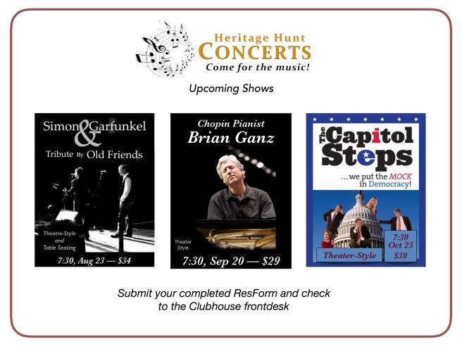 Concert Schedule - Aug thru Oct