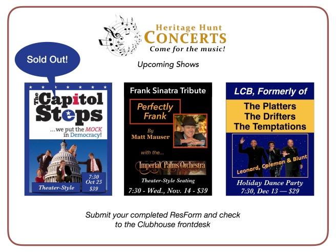 Oct thru Dec Concert Schedule