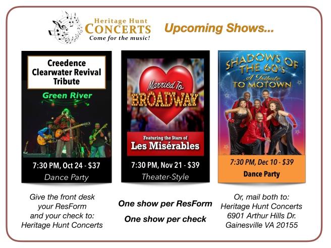 3-Concert Schedule - Oct thru Dec, 2019